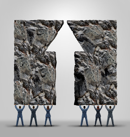 la union hace la fuerza: Business team support and company teamwork success and motivation concept as two teams joining together lifting heavy rocks shaped as an upward arrow as a metaphor for cooperation to achieve the impossible. Foto de archivo