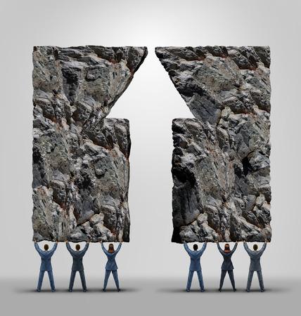 la union hace la fuerza: de ayuda de asunto y el éxito del trabajo en equipo de la empresa y la motivación concepto como dos equipos se unen de elevación pesadas rocas formadas como una flecha hacia arriba como una metáfora de la cooperación para lograr lo imposible.