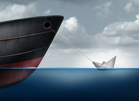 achievement concept: Amazing power concept as a small paper boat in the ocean pulling a huge metal ship as an overachiever metaphor for maximizing potential and business motivation for accomplishing impossible tasks through belief and determination.