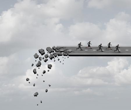 Course contre le temps et urgent concept d'entreprise délai de stress comme un groupe de gens d'affaires de fuir un pont routier en ruine comme une métaphore de crise pour gérer la pression en fonction de la peur de l'industrie. Banque d'images - 48667084