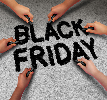 discounted: Black Friday promotion sale community sign as text written by a diverse group of people with black chalk to celebrate holiday season shopping for low prices at retail stores offering discounted buying opportunities.