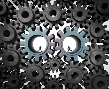 harmonize: Industry partnership business planning concept as a team of businesspeople running inside a gear or cog wheel working together as a cooperation success metaphor of social economic engine network. Stock Photo