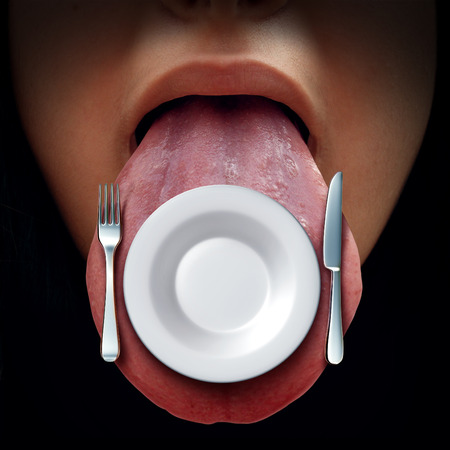 tastes: Eating time concept and dining or lunch idea symbol as an open mouth with a place setting with an empty plate knife and fork on the tongue as a nutrition or eating at a restaurant icon.