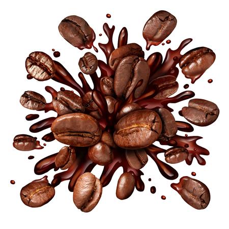 Koffie splash met koffiebonen vliegen als een donkere geroosterde brouwsel met spatten verse warme gebrouwen vloeistof als symbool voor een ontbijt drinken geïsoleerd op een witte achtergrond.