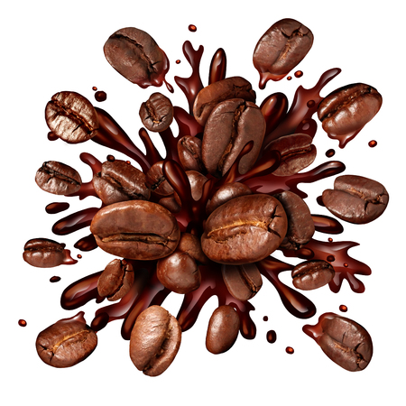 salpicaduras de café con granos de café de volar como un brebaje oscuro asado con salpicar líquido fresco caliente se prepara como un símbolo para una bebida del desayuno aislado en un fondo blanco.