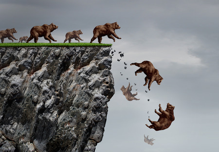 Falling bear market financial decline business and plummeting finance concept for losing investment and value taking a nose dive as a group of bears in a free fall  dive off a cliff as a bear icon in a financial collapse and stock market crisis. 스톡 콘텐츠