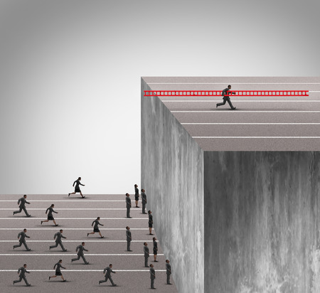 climbing ladder: Business innovation advantage concept as a group of businesspeople running into a high wall obstacle with one clever competitive businessman using a ladder to climb and carrying the tool with him to deny the competition of opportunity. Stock Photo