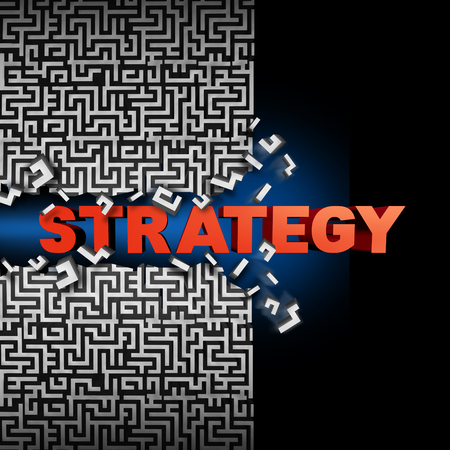 financial symbol: Strategy solution concept and game plan symbol as text breaking through a maze or labyrinth puzzle as a financial  or corporate symbol of planning success to find a way towards succeeding in business and life. Stock Photo