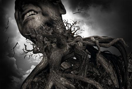 El sufrimiento y el concepto de dolor como un árbol y las raíces en forma de un ser humano experimenta una intensa tortura y agonía mental como una metáfora de psicología para la miseria o atrapados por la adicción.