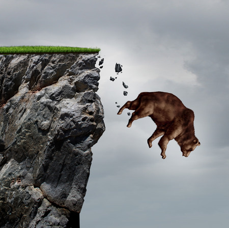 cliffs: Falling bear market financial decline business and plummeting finance concept for losing investment and value taking a nose dive as a bear in a free fall  dive off a cliff as a bearish icon in a financial collapse and stock market crisis.