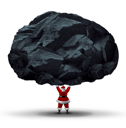 misbehaving: Lump of coal symbol as a punishment gift or present for the naughty given by santa clause as a huge chunk of mineral being lifted by a jolly man in a red suit as a holiday symbol for a misbehaving reward.