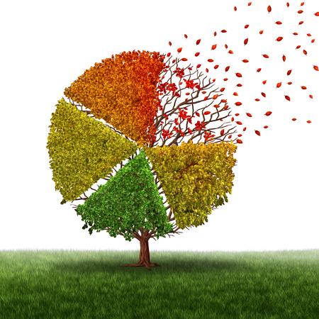 Unternehmenswechsel und veränderte Marktkonzept und verlieren Geschäftskreisdiagramm, wie eine alternde grünen Baum mit Blätter gelb auf rot und fallen aus als Übergang Metapher in Transformationsbedingungen als Finanzdiagrammscheibe. Standard-Bild