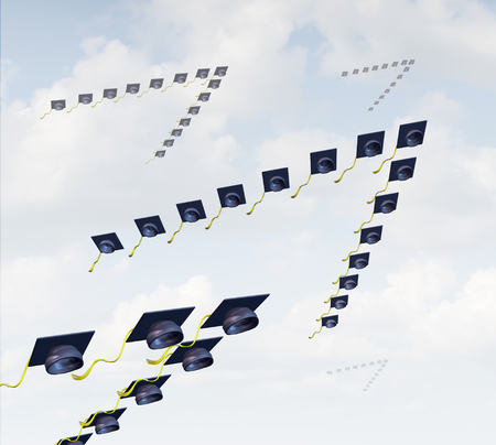 migratory: Student migration and global higher education concept as a group of graduation hats or mortar boards shaped as a v formation as that of migratory birds.