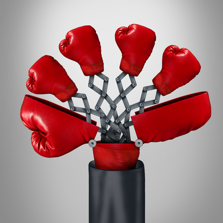 Innovatief concurrent business concept als een open groot bokshandschoen met vier andere rode handschoenen in opkomst als een wisselaar strategiespel symbool voor een concurrerende innovator voordeel door middel van slimme uitvinding.