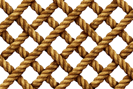 fishing net: Rope grid pattern as a group of strong thick nautical cords connected in a geometric shape as a marine net isolated on a white background.