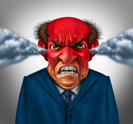 enojo: Concepto jefe enojado como un gerente de negocios indignado con un mal genio que sopla vapor y espuma en la boca como símbolo corporativo de la ira y el estrés en el trabajo.