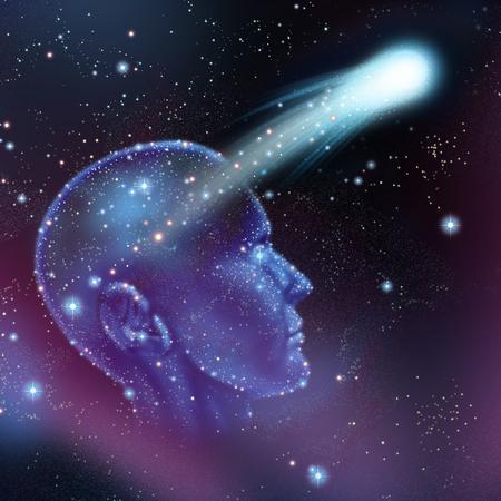 psyche: Los sueños y la imaginación concepto como un grupo de estrellas en un cielo nocturno forma de una cabeza humana con una estrella fugaz volando como un hacer una metáfora deseo o la astronomía y la astrología símbolo.