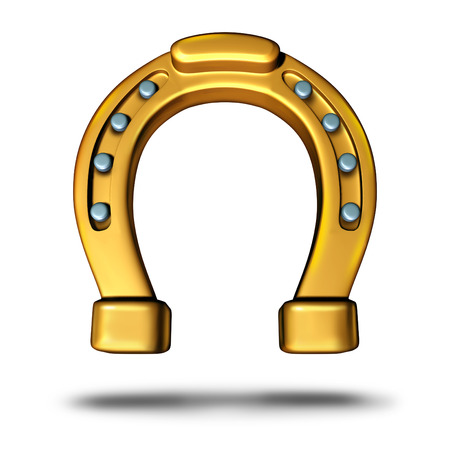 good luck charm: Horseshoe icon or horse shoe symbol as a good luck charm as a golden metal object as a metaphor for fortune and success or a lucky element. Stock Photo