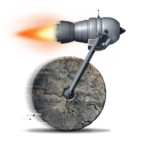 newer: Technology upgrade business concept as an ancient stone wheel with a rocket engine or jet motor attached for increased speed and performance as a success metaphor for innovating on old ideas.