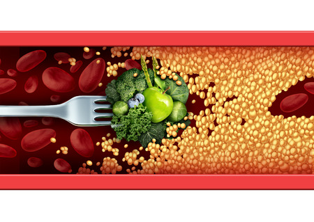 blood: Food medicine concept and natural cure and remedy as a fork with green vegetables and fruit breaking through an blocked artery with cholesterol  as a medical nutrition symbol on eating healthy for a healthier lifestyle. Stock Photo