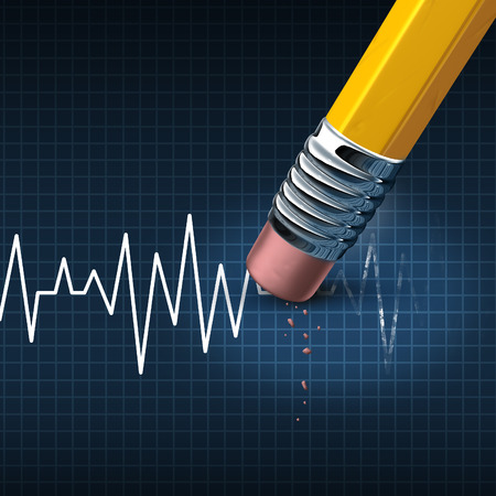 span: Shorten your life medical and health care problem concept as a life line or heart monitor ekg or ecg chart being removed by a pencil eraser as a healthcare risk metaphor for living an unhealthy lifestyle.