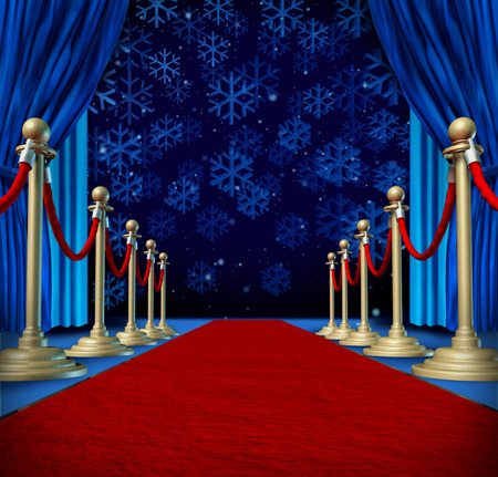 red carpet background: Winter red carpet background as a catwalk or runway in an auditorium stage with snowflakes falling down as a seasonal holiday celebration for newyear marketing or promotion with copyspace. Stock Photo