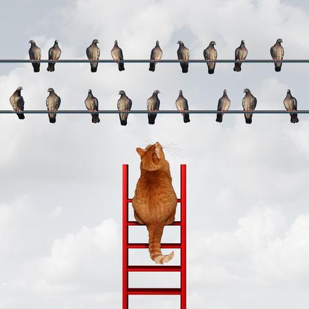 Het bereiken van je doel concept en het stellen van doelen zakelijke metafoor als een kat beklimmen van een ladder naar een groep vogels te bereiken over een hoge draad als een motivatie symbool voor strategie en planning.