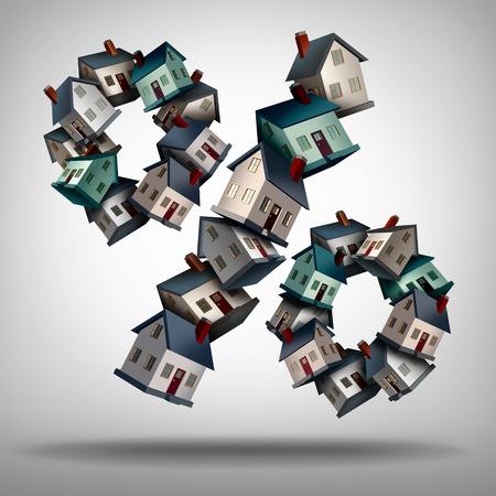 집 대출이나 부동산 업계 백분율 기호에 대한 백분율 기호 모양의 집 또는 집의 그룹으로 홈 모기지 금리 개념과 금리 기호입니다.
