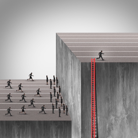 canny: Winning strategy plan as a smarter more cunning businessman using a hidden ladder to rise above an industry obstacle and rise above the competition who are blocked by a high wall barrier using new thinking under the radar.