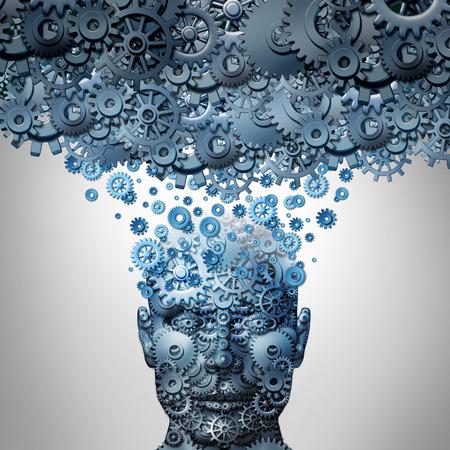 Laden Sie Ihren Geist oder das Hochladen von Ihr Gehirn Konzept als ein menschlicher Kopf aus mechanisierten Getriebe und Zahnräder auf einer Maschine Cloud-Server als künstliche Intelligenz Symbol oder Neurowissenschaften Technologie hochgeladen werden.