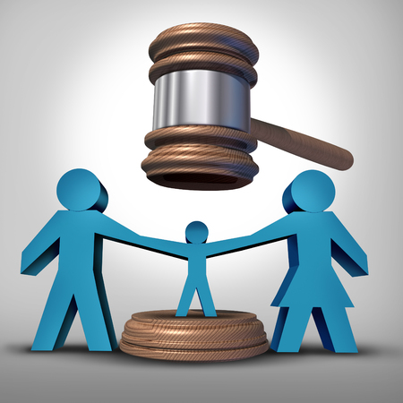 divorce court: Child custody battle as a family law concept during a legal separation or divorce dispute as a father mother icon holding a child with a judge gavel or mallet coming down as a justice symbol for parenting rights. Stock Photo