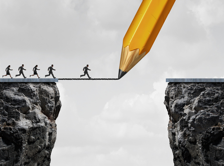 adversity: Drawing a bridge and conquering adversity business concept as a group of people running from one cliff to another with the help of a pencil line sketch as a concept for bridging the gap for success. Stock Photo