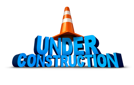 overhaul: Under construction symbol as three dimensional text with a traffic cone as an icon for the technology concept of updating a website or remodeling and fixing a broken structure on a white background.