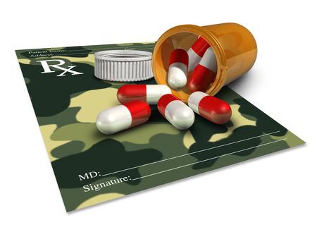 recetas medicas: concepto de medicina militar como una receta médico con un patrón de camuflaje para la terapia soldado veterano o un icono para los productos farmacéuticos en las fuerzas armadas. Foto de archivo