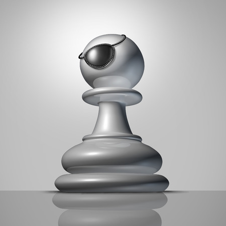 tenacious: Stronger strategy business concept as a chess pawn piece wearing a pirate eyepatch or eye patch as a symbol and metaphor for an aggressive and tougher strategic approach to toughen up to better compete. Stock Photo