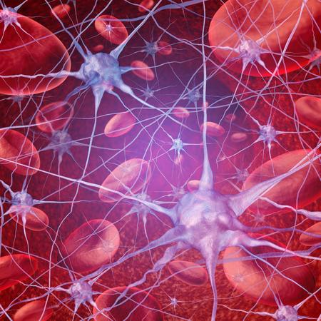 flujo: el flujo sanguíneo de la neurona como la circulación cerebral con células que fluyen a través de las venas y sistema circulatorio humano que representan un símbolo de salud la atención médica relacionada con cuestiones de accidente cerebrovascular o neurología.