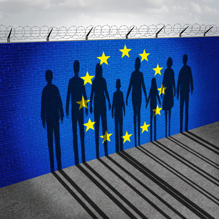 flags: Europe immigration and european refugee crisis concept as people on a border wall with a Eurozone flag as a social issue on refugees or illegal immigrants with the shadow of a group of migrants.