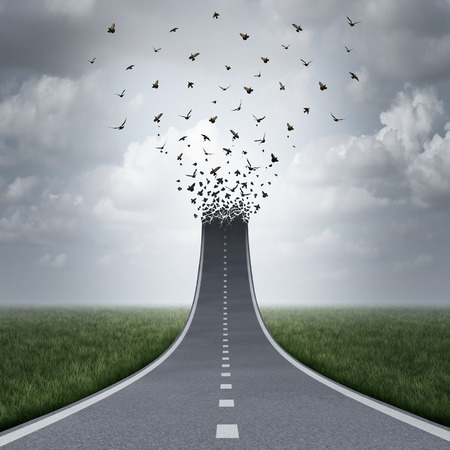 flight: Driving freedom concept as a road or highway going up and transforming into flying birds as a business metaphor for success or life motivation as a path to liberty or heaven. Stock Photo