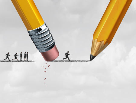 restrictive: Help concept and corporate support as a group of people excluded from advancing on a drawing of a line that is being erased and sketched by a pencil. Stock Photo