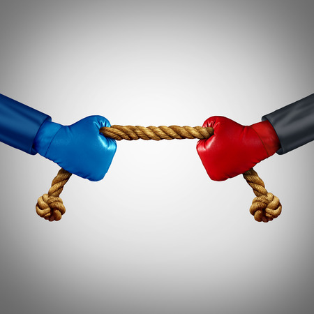 tug: Tug of war as two opposing businessmen rivals pulling rope as a battle to win over an opponent and a test of business strength as a competition metaphor for financial strategy power between adversaries.