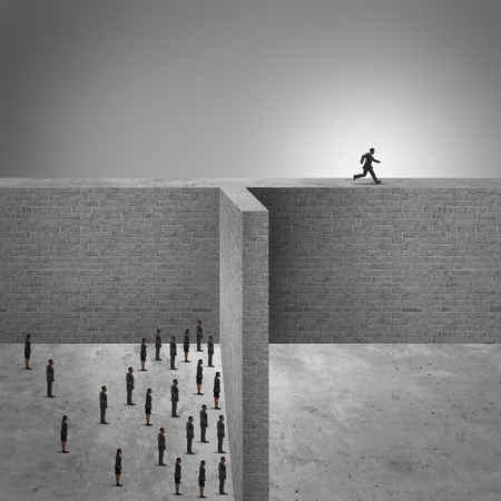 Think outside the box business success concept as a group of people trapped by high brick walls and a clever businessman leading the businesspeople by finding a new way to success by running on the ledge.