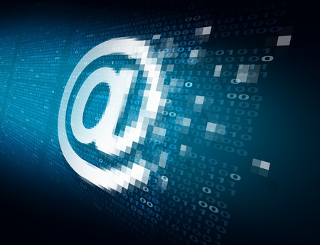 email symbol: Email internet security technology concept as an at sign icon being encrypted for data transfer protection with binary code background as an online safety icon to protect password and username or reading of personal content.