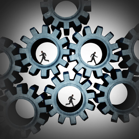 coordinate: Connected teamwork people running inside gears connected together as a social community group symbol or business concept working for a common cause network in a working team partnership. Stock Photo