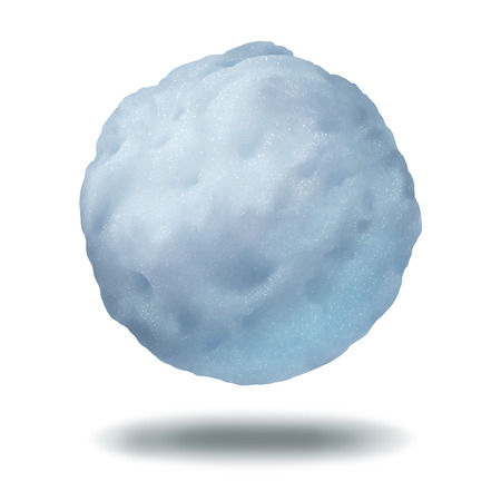 seasonal symbol: Snowball icon as a floating or thrown frozen winter ice crystal sphere object isolated on a white background with a cast shadow as a symbol for cold weather seasonal fun activity. Stock Photo