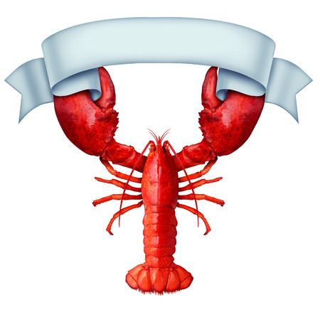 Lobster Banner ribbon with claws holding a blank sign as a fresh seafood message or shellfish food concept with a red shell crustacean isolated on a white background. Stok Fotoğraf
