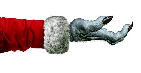 egoista: Miser monstruo y Scrooge taca�o s�mbolo de la mano con la que llevaba un abrigo rojo como un icono de vacaciones de invierno comportamiento ego�sta y el ego�smo aislado en un fondo blanco.