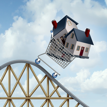 lower value: Falling home prices and declining real estate value financial concept as sold houses in a shopping cart going down a roller coaster as a business financial concept as low or lower mortgage residential loan rates and buying your family dream home.