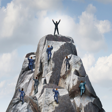 Climb to the top career business concept as a group of businesspeople climbing a rock mountain with one individual leader reaching the summit or peak as a success metaphor. Stock Photo