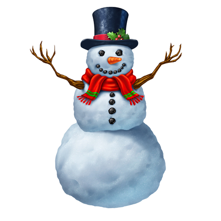 anthropomorphic: Snowman character isolated on a white background as a traditional magical winter celebration icon and festive seasonal symbol for snowing and snow fall play activity.