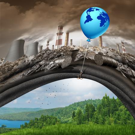 Klimaatverandering wereldwijde overeenkomst concept van een blauwe ballon van hoop met een kaart van de aarde weg te tillen van een vervuilde vuile industriële achtergrond van het onthullen van een schone groene natuurlijke landschap als een broeikasgas oplossing symbool.